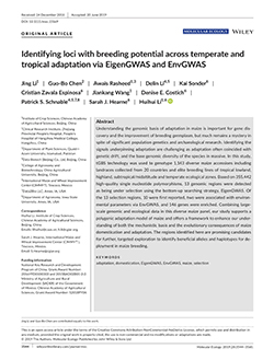 Identifying loci with breeding potential across temperate and tropical adaptation via EigenGWAS and EnvGWAS